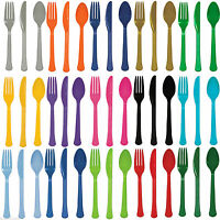 24 Plastic Cutlery Birthday Wedding Solid Colours Tableware Party Supplies