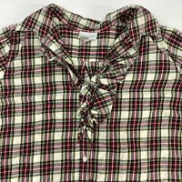 Soft Surroundings Button Up Tunic Shirt Women's Small Ruffle Trim Plaid Flannel