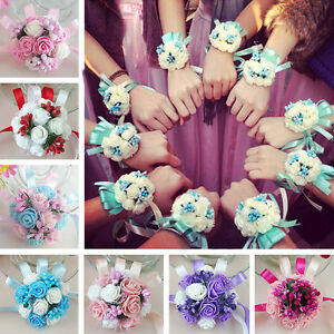 Wedding Party Flower Corsage Bracelet Bridal Bridesmaid Wrist Flowers Decor US