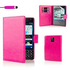 32nd Book Wallet PU Leather Case Blackberry Passport + Screen Protector & Stylus