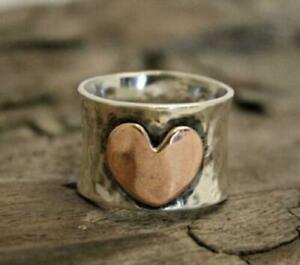 925 Sterling Silver Wide Band & Copper Jewelry Ring Handmade Statement All Size