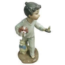 Vintage Lladro Nao 1138 Figurine Boy In PJs with Candle Puppy Bear 1990 #1138