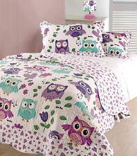 Kids Fun TWEET Twoo OWL & Cuori Letto Singolo Trapuntato Copriletto & Pillowsham Set