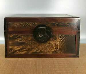 14.4'' Chinese Antique Wood Box natural Old Yellow rosewood Box Jewelry Box