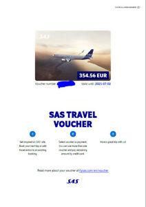 SAS Travel Voucher Fluggutschein 354€