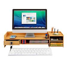 New Wood Desk Organizer Computer Monitor Stand Riser Office Holder Desktop Tray