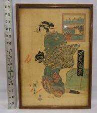 Atq 19th Original Japanese Woodblock Print by Keisai Eisen Edo Courtesan Framed