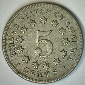 1869 Shield Nickel 5c US Type Coin Very Fine Circulated Philadelphia Mint