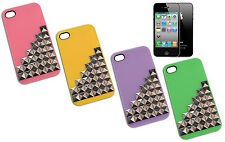 COVER CASE FLIP SUITABLE FOR IPHONE 4 STUDS PLASTIC PINK GREEN VIOLA YELLOW Y