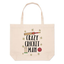 Crazy Cricket Man Large Beach Tote Bag - Funny Shopper Shoulder