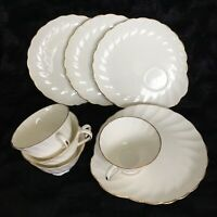 Tuscan Fine Bone China Dover Tea Cup & Snack Plate Set Of 4