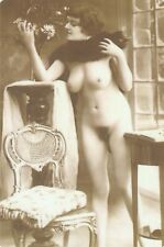 French nude woman Naked with a fur coat real photo postcard REPRINT COPY