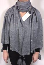 Pashmina Wrap Shawl Grey Pearls Tassels Soft Oversized NEW