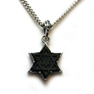 """KING BABY Mens New Star of David Sterling Silver & Black Rhodium Necklace 24"""""""