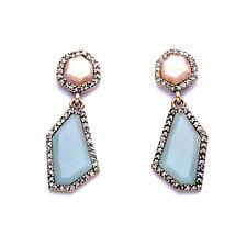 Exquiste Anthropologie Desiree Blue Tan Beige Beaded Rhinestone Earrings
