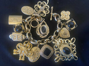 Vintage OOAK Altered Art CHUNKY Gold tone Charm Bracelet Necklace. Heavy 114 gm.