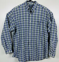 Polo Ralph Lauren Long Sleeve Oxford Shirt Plaid Mens Size L White Blue Green
