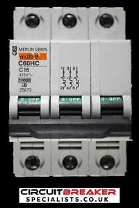 MERLIN GERIN 16 AMP CURVE C 10kA TRIPLE POLE MCB CIRCUIT BREAKER C60HC 25673