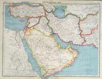 Antique Map Of Asia 1947 South West Saudi Arabia Persia Iraq Iran Syria