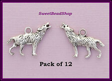 12 Antique Silver Colour Double Sided 18 x 25mm Pagan Howling Wolf Charms