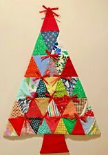 Vintage Quilted Christmas Tree Patchwork Retro Wall Hanging Handmade 1970s 19x27