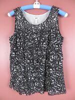 TB05009- J. CREW Womens 100% Silk Layered Sleeveless Blouse Black White Floral 6