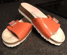 NIB Birkenstocks Birki's Women's 38 - 7 Orange Patten Leather Sandal Slide