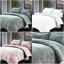 Teddy Bear Fleece DIAMANTE SPARKLE Duvet Cover Sherpa Thermal Warm Soft Bedding