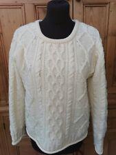 """NEW """"INIS"""" Irish CRAFTS thick 100% Merino wool artisan hand made warm off white"""