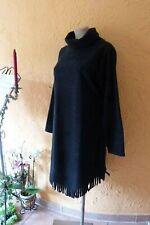 BORIS INDUSTRIES Fleece Kleid Fransen 44 46 48 NEU! schwarz Rollkragen LAGENLOOK