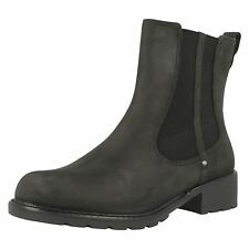 Ladies Clarks Orinoco Club Black Leather Ankle Boots D & E Fittings