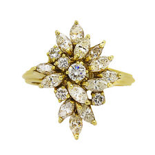 14K Yellow Gold Diamond Cluster Ring  2.00ct TDW   Size 7