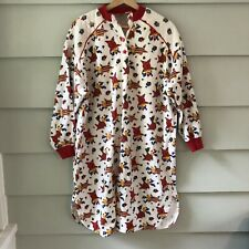 Vintage Night Wear Flannel Nightgown Reindeer Christmas Holiday Womens M
