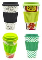 Reusable Bamboo Fiber Coffee Cup for Travel 400ml/14oz with Lid & Spill Stopper