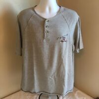 Vtg Eddie Bauer EBTEK  Mens Henley Shirt Medium Gray Embroidered Free Shipping!