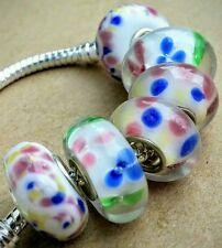 6P White Pink Blue Yellow Flowers & Dots Single Core European Murano Glass Beads