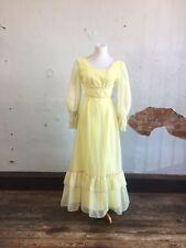VTG 70's Prairie Dress Swiss Dot Yellow Ruffle Boho Gunne Sax Style Small 8