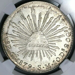 1879/8-Go NGC MS 62 Mexico 8 Reales Scarce Overdate Silver Coin (21090407C)