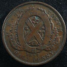 LC-8C1 Halfpenny token Un sou 1837 Lower Bas Canada Banque du Peuple Breton 522