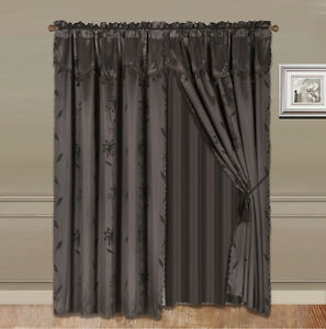 8Piece CHOCOLATE Nada Luxury Faux Jacquard Floral Panel Window Curtain DRAPE SET