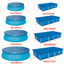 More details for 9 sizes rectangle/round swimming pool cover for intex bestway garden outdoor uk
