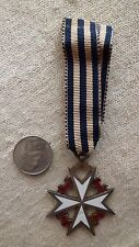 Medal Masonic K.M. Knights of Malta White Maltese Cross Red Lions Sterling JEWEL