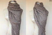 Womens Reversible 100% Alpaca Pashmina Shawl Scarf Wrap Cashmere Silk Wool Stole