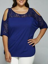 Womens Scoop Half Sleeve Batwing Cold Shoulder Lace Top Royal Blue Plus Size