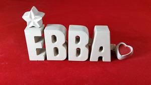 Beton, Steinguss Buchstaben 3D Deko Namen EBBA als Geschenk verpackt!