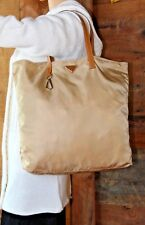 PRADA~Beige Khaki Tan Saffiano Leather Nylon Tessuto Bag~computer laptop~PURSE