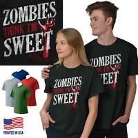 Zombies Think Im Sweet Halloween Dead Walker Short Sleeve T-Shirt Tees Tshirts