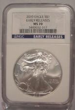 2010 SILVER AMERICAN EAGLE PCGS MS70 DOLLAR $1 EARLY RELEASES