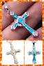 Celtic Cross Blue White Fire Opal Silver PlatedChain Pendant Necklace UK Seller