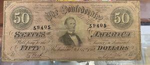 1864 Confederate States Of America $50 Richmond , Virginia Civil War Money